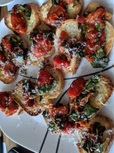 Bruschetta with Toasted Bread using Oven Roasted Tomatoes and Basil