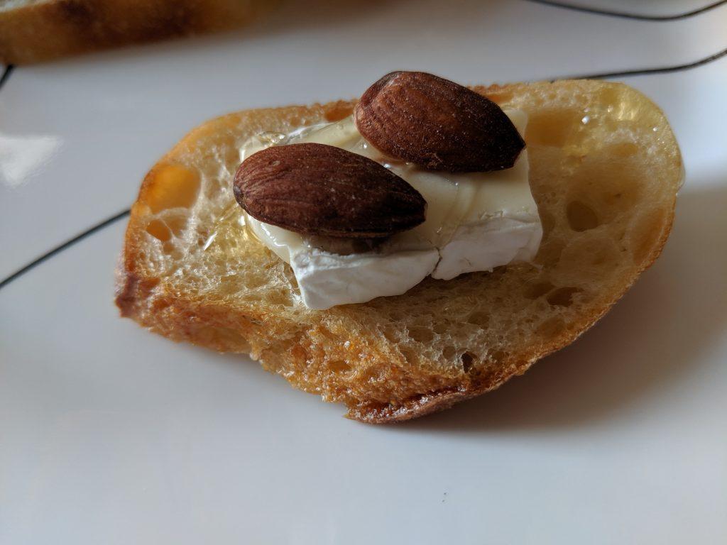 crostini with brie honey almonds