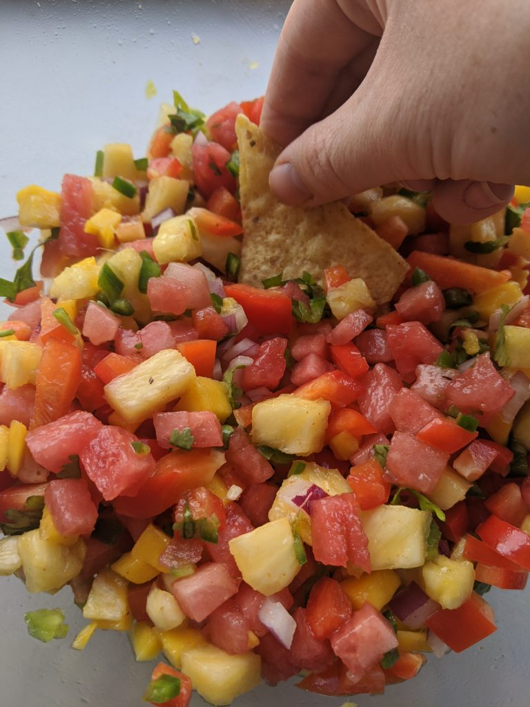watermelon salsa with pineapple and mango