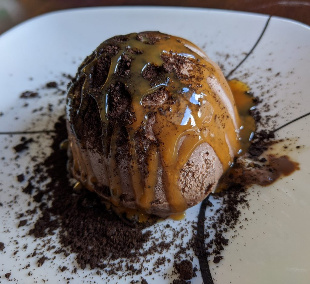Tartufo made with silicone mold chocolate ice cream at home