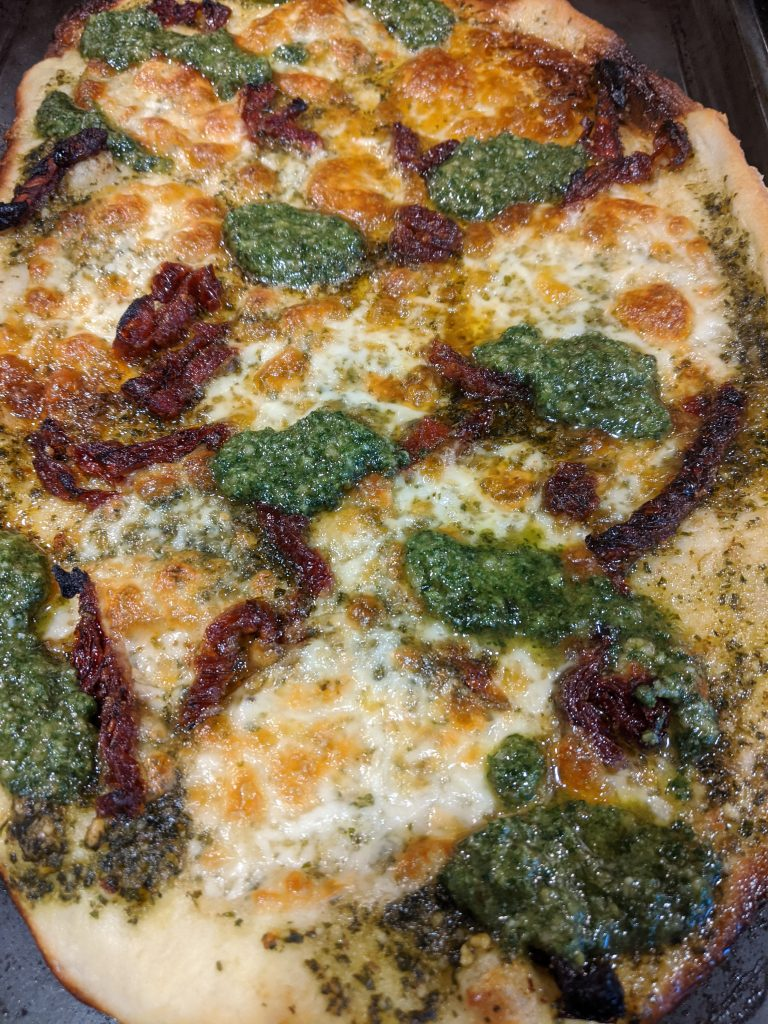 sundried tomato fresh pesto flatbread