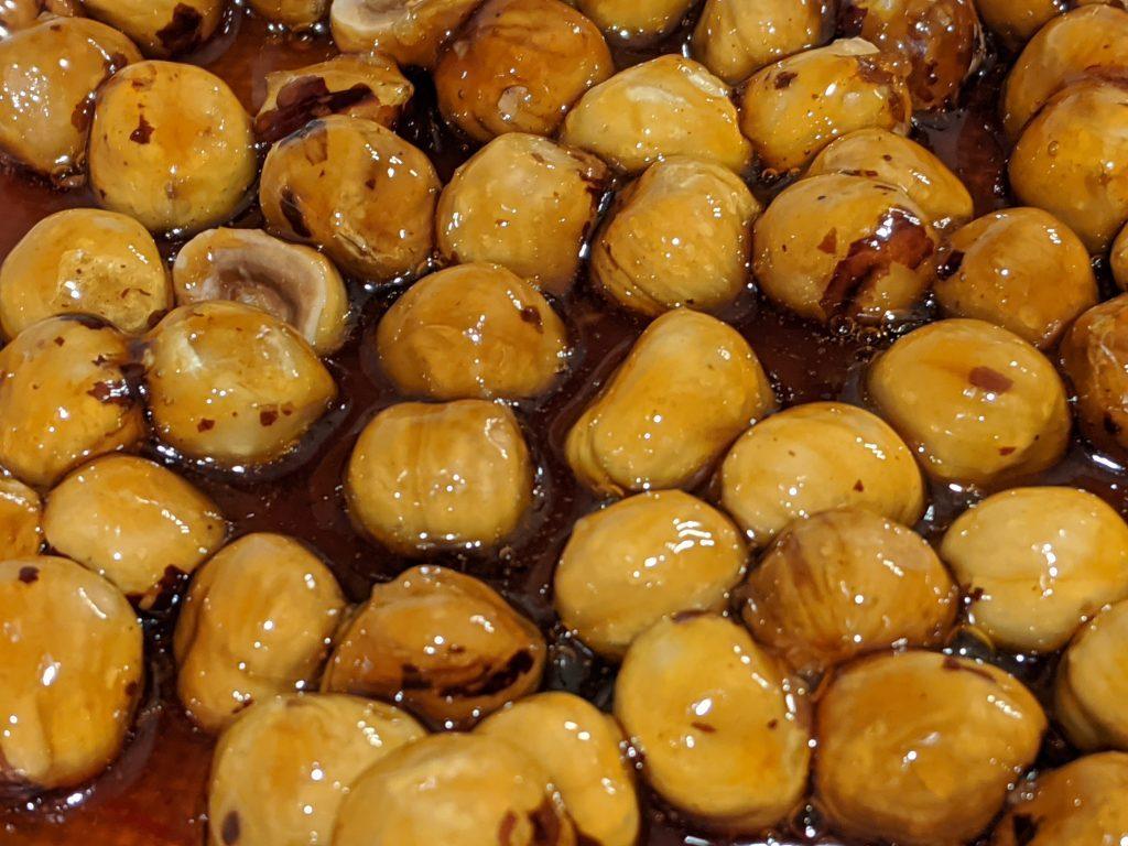 roasted hazelnuts with caramel sauce