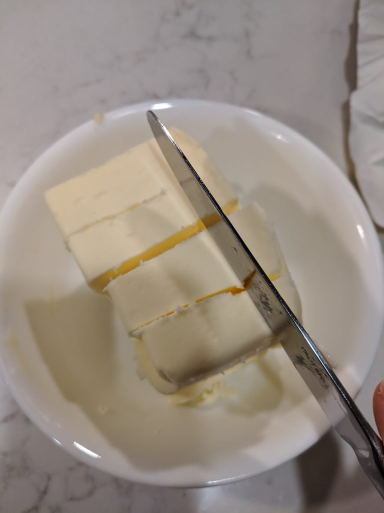 how to cut butter into cubes with a knife