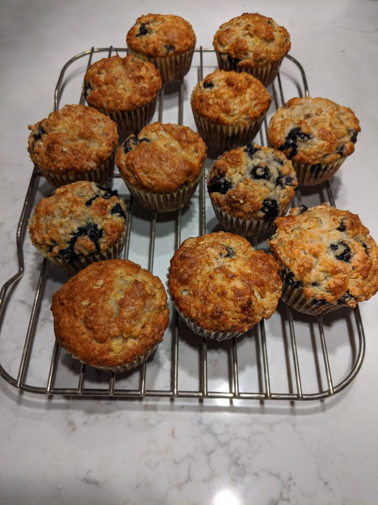 banana blueberry muffins with oats